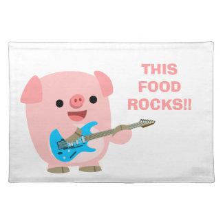 Cerdo lindo Placemat del dibujo animado de Rockin Mantel
