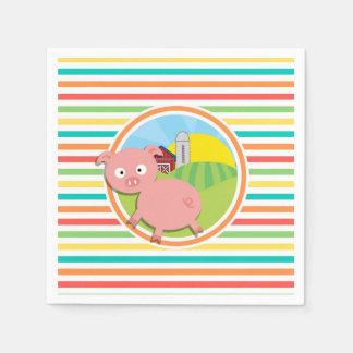 Cerdo lindo; Rayas brillantes del arco iris Servilletas De Papel