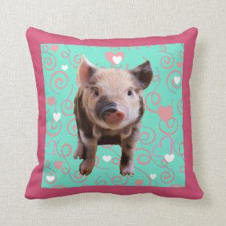 Cerdo lindo - remolinos del azul y del rosa cojín