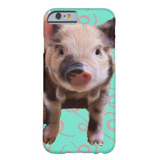 Cerdo lindo - remolinos del azul y del rosa funda de iPhone 6 barely there