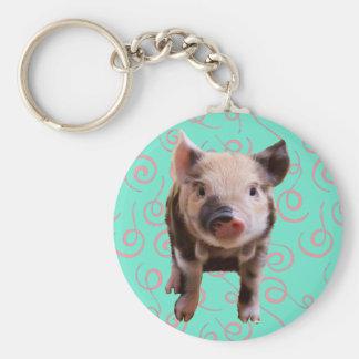 Cerdo lindo - remolinos del azul y del rosa llavero personalizado