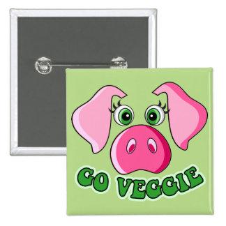 Cerdo lindo, vegetarianos pin cuadrado
