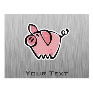 Cerdo; Mirada cepillada del metal Postal