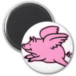 Cerdo muy lindo del rosa del vuelo imán