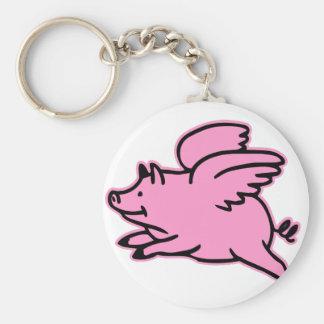 Cerdo muy lindo del rosa del vuelo llaveros