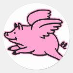 Cerdo muy lindo del rosa del vuelo etiquetas redondas