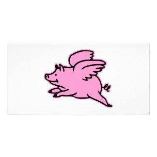 Cerdo muy lindo del rosa del vuelo tarjetas fotográficas
