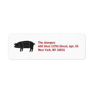 Cerdo negro seccionado del Bbq Etiqueta De Remitente