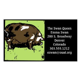 Cerdo o cerdo del grabar en madera del Victorian Tarjetas De Visita