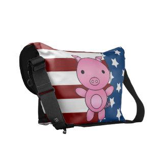 Cerdo patriótico conocido personalizado bolsas de mensajeria