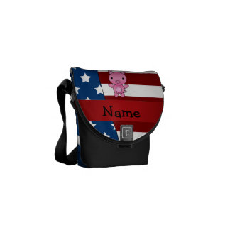 Cerdo patriótico conocido personalizado bolsa de mensajeria