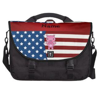Cerdo patriótico conocido personalizado bolsas de portátil