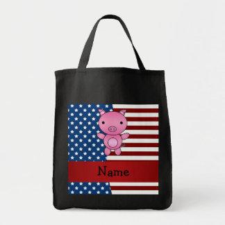 Cerdo patriótico conocido personalizado bolsa tela para la compra