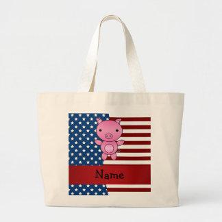 Cerdo patriótico conocido personalizado bolsa tela grande