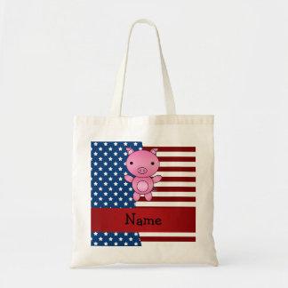 Cerdo patriótico conocido personalizado bolsa tela barata