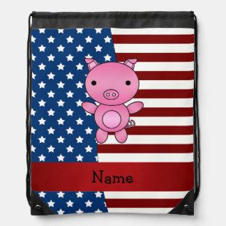 Cerdo patriótico conocido personalizado mochila