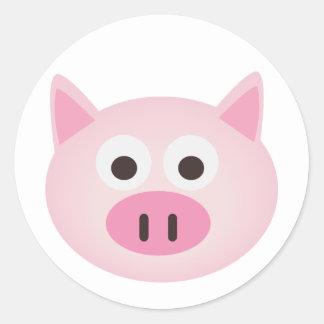 Cerdo Pegatina Redonda