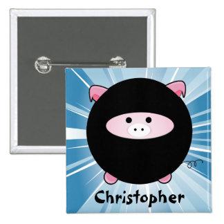 Cerdo personalizado de Ninja en el botón azul Pin