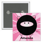 Cerdo personalizado de Ninja en el botón rosado Pin