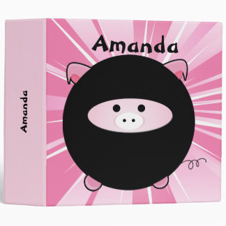 "Cerdo personalizado de Ninja en rosa Carpeta 2"""