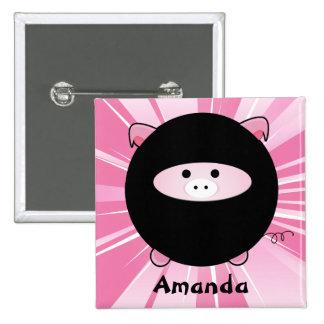 Cerdo personalizado de Ninja en rosa Pin