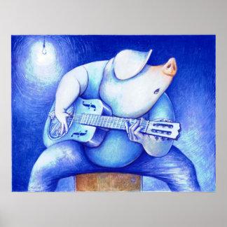 Cerdo porcino de los azules que juega la impresión póster