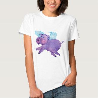 Cerdo púrpura del vuelo playera