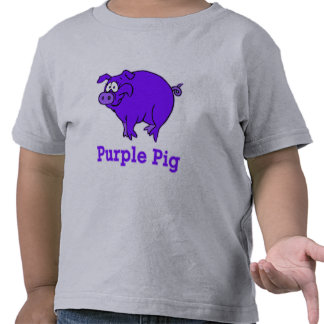 Cerdo púrpura en la ropa tazas camisetas del beb