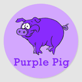 Cerdo púrpura en la ropa, tazas, camisetas del pegatina redonda