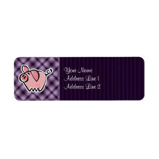 Cerdo púrpura etiqueta de remitente