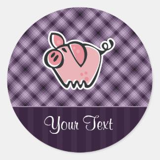Cerdo púrpura etiquetas redondas