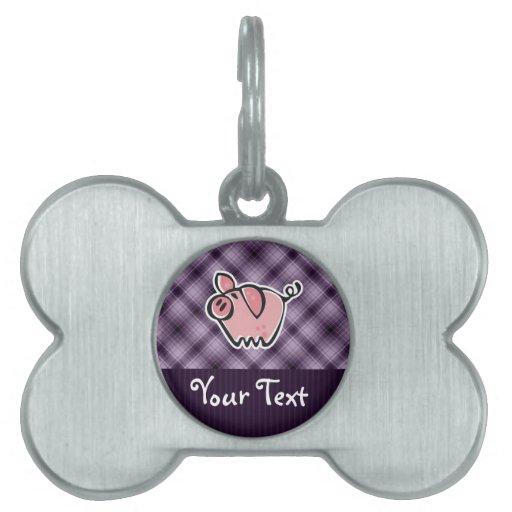 Cerdo púrpura placas de nombre de mascota