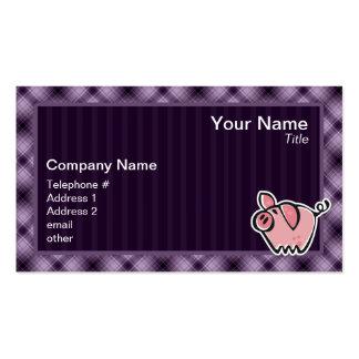 Cerdo púrpura tarjetas de visita