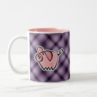 Cerdo púrpura taza de café de dos colores