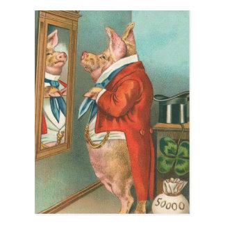 Cerdo que ata su pañuelo postal