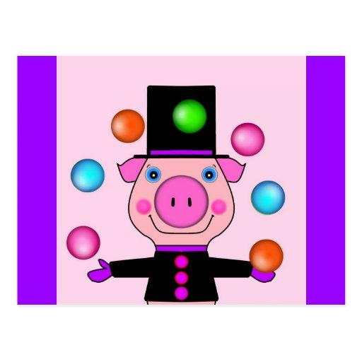 Cerdo que hace juegos malabares postales