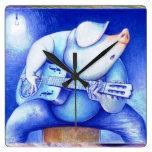Cerdo que juega el wallclock de la guitarra relojes