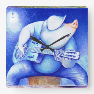 Cerdo que juega el wallclock de la guitarra reloj cuadrado