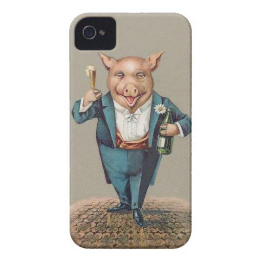Cerdo que va de fiesta lindo con Champán - iPhone 4 Coberturas