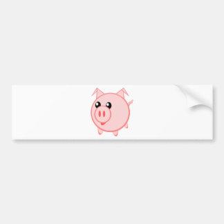 Cerdo redondo lindo del dibujo animado pegatina para auto
