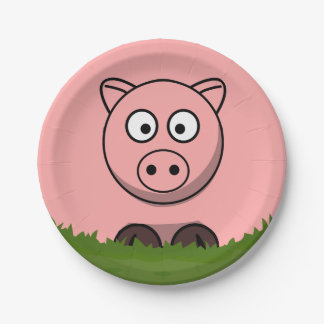 Cerdo redondo platos de papel