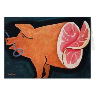 """Cerdo retro """"Ham cortado del cerdo de la comida de Tarjeta De Felicitación"""