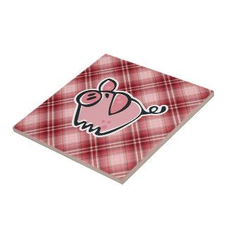 Cerdo rojo de la tela escocesa azulejo cuadrado pequeño