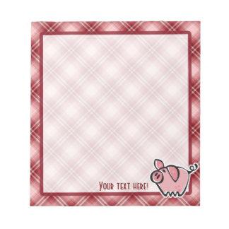 Cerdo rojo de la tela escocesa bloc