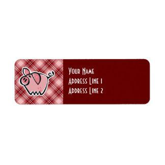 Cerdo rojo de la tela escocesa etiqueta de remite