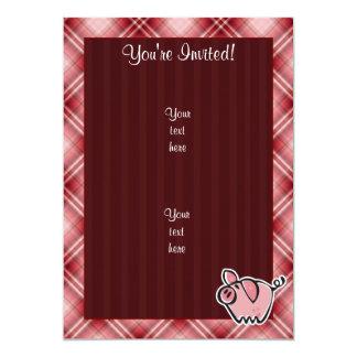 """Cerdo rojo de la tela escocesa invitación 5"""" x 7"""""""