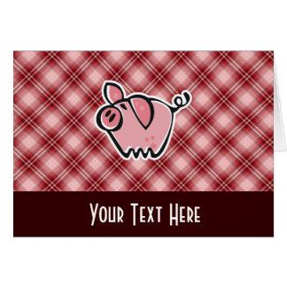 Cerdo rojo de la tela escocesa tarjeta de felicitación