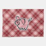 Cerdo rojo de la tela escocesa toallas de mano