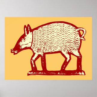Cerdo rojo grande: Arte popular para la cocina del Impresiones