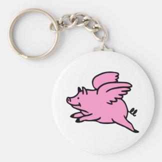 Cerdo rosado blanco del vuelo llaveros personalizados